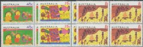 AUS SG1450-2 International Year of the Family, Children's Paintings set of 3 blocks of 4